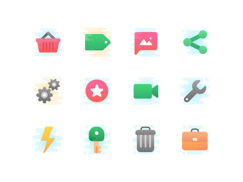 New icon set in progress share settings trash key video tag shopping cute iconography vector icons icon