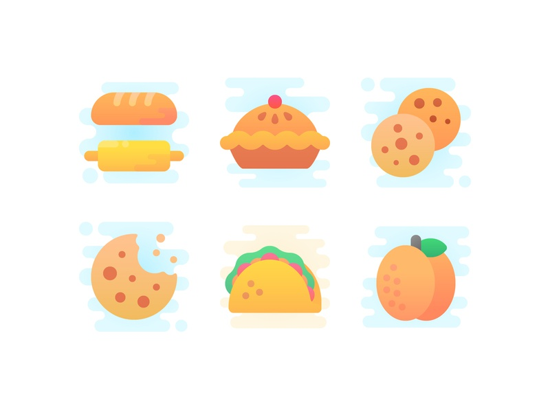 Cheat meal plans baguette peach taco cake pastry cookies cookie vector cute iconography icons icon