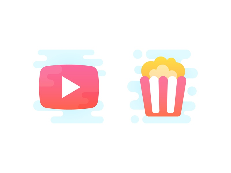 After Work movie film watching youtube popcorn pop corn video iconography cute vector icons icon