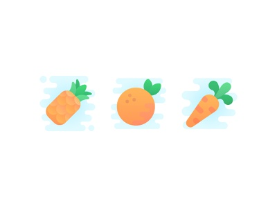 Delicious Things tasty food carrot pineapple orange vegetable fruit vector cute iconography icons icon