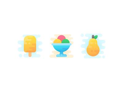 Spring Treats yellow dessert tasty sweet ice pop pear ice cream iconography vector cute icons icon