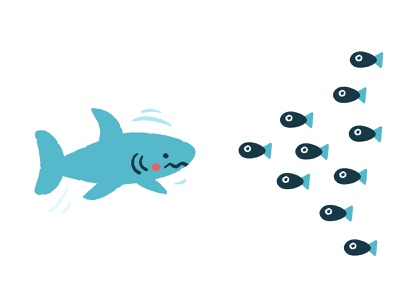 Who wins? simple nature blue fishes battle underwater sea fish shark cute vector illustration