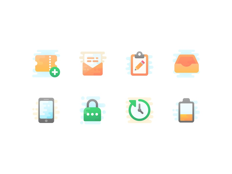 Cute clipart icons ticket password smartphone design iconography freebie cute set vector free icons icon