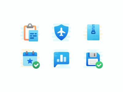 Cute Clipart Blue Icons paste topic calendar archive save plane iconography cute set vector icons icon