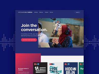 National Public Media Redesign brand gradient redesign brand strategy branding ux website design ui