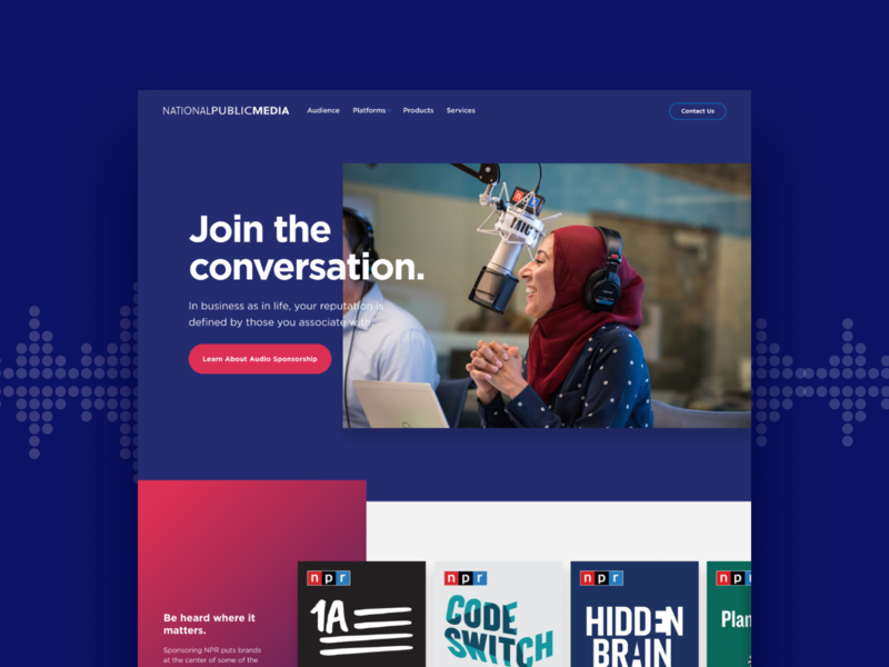 National Public Media Redesign brand gradient redesign brand strategy branding ux website design ui