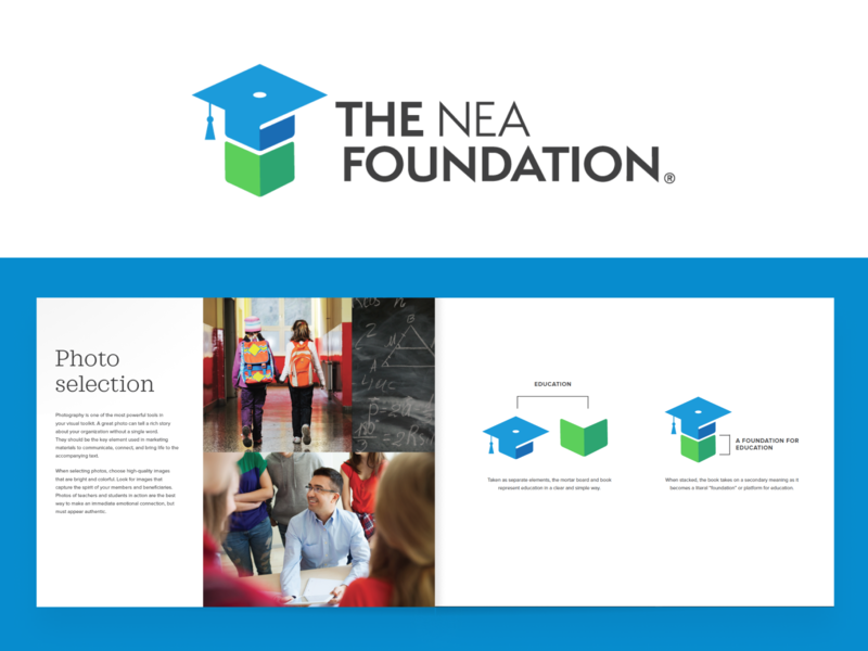 The NEA Foundation - Rebrand brand identity logo education rebrand redesign brand guide moodboard stationery