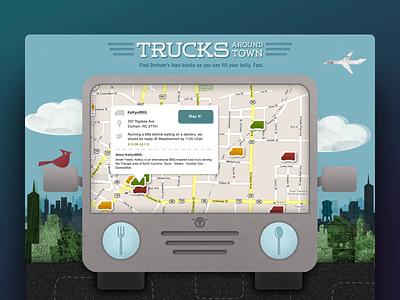 Food Truck Night/Day Experiment web design ui collage illustration app dark mode
