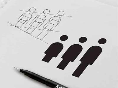 Growing People Logo ages women men humans human line grinds gridlines grid users people growing