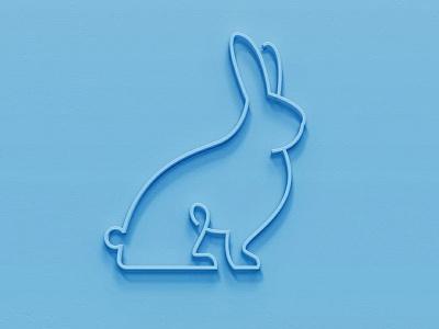 Blue Rabbit Logo 3d lines single line linework rabbits line animal animal rabbit bunnies bunny blue
