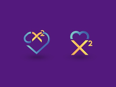 X² Heart logo logo design x2 logo chi squared logo chi squared heart math logo heart logo heart math squared
