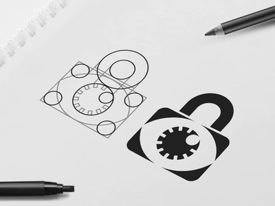 Lock Eye Logo icon design mark logo icon logo design grid grid design eye logo lock logo eye lock