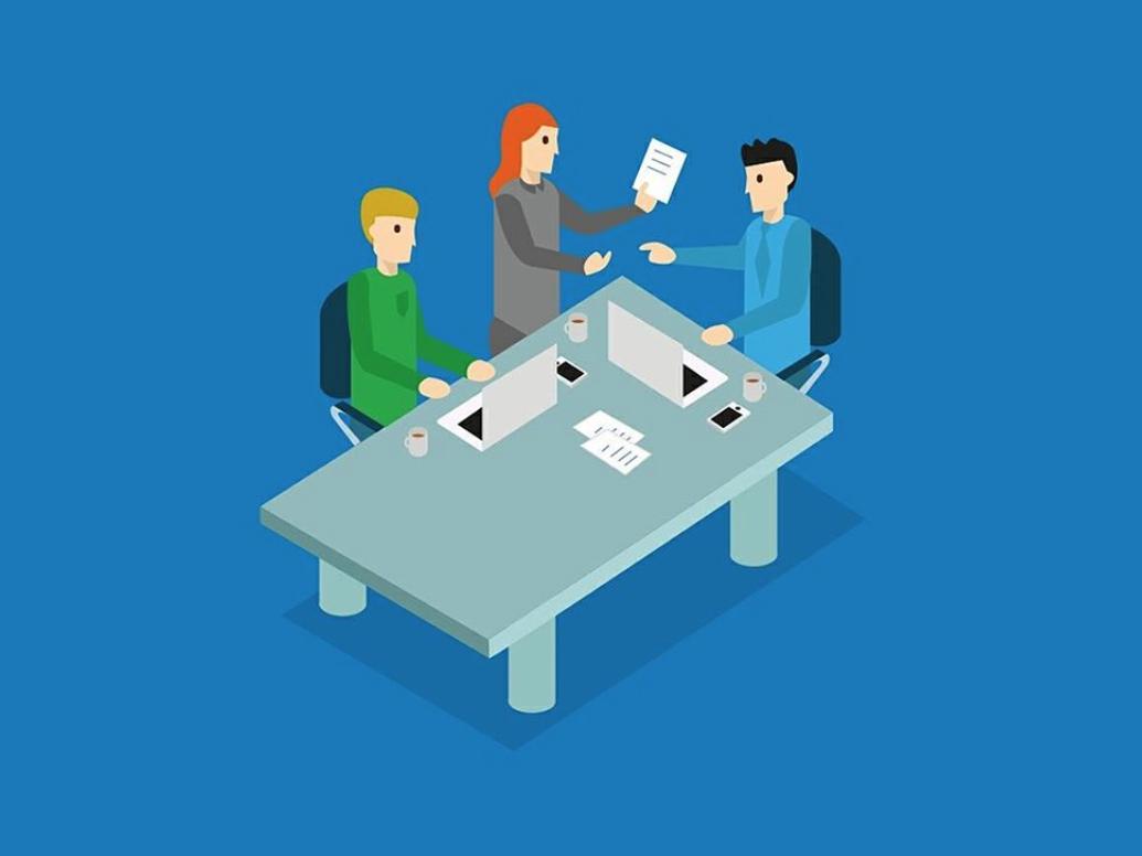 Business meeting laptops consult meetup table discussion minimal design woman men hackathon illustration meeting business