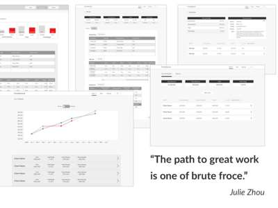 Rapid iteration wireframes