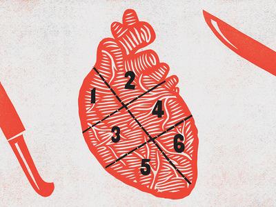 Bleeding Heart butcher knife heart design illustration printmaking print poster letterpress