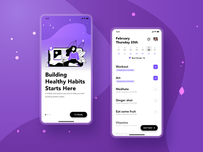 Habit Tracker App Concept concept illustration healthy customize purple habit tracker habit ui app ux design