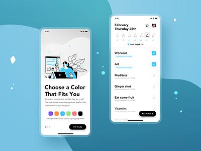 Habit Tracker App Concept Pt. 2 design uidesign uiux app ui habit habit tracker blue customize healthy illustration concept