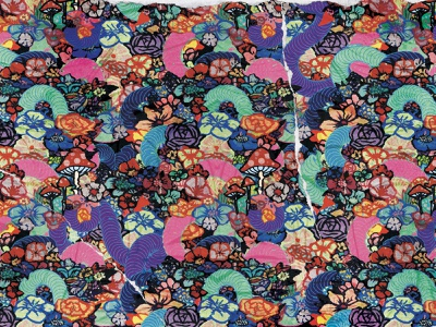 Living Thing Pattern collage artist flowers worms pattern