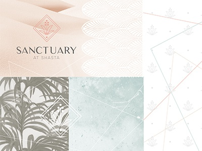 Sanctuary at Shasta desert oasis sanctuary logo apartments branding sketches