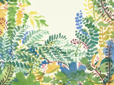 Native Ferns of Georgia watercolor trees plants nature illustration georgia flowers design