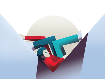 Stuck geometric person illustration editorial