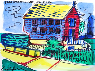 Portsmouth Watercolor new hampshire architecture boathouse house watercolor