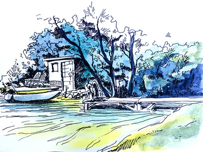 Camp in Maine illustration sketch watercolor pond lake water boat maine camp