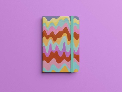 Groovy Wave Notebook psychedelic sketchbook graphicdesign book cover design notebook cover book cover handmade painting gouache pattern art graphic art pattern wavy trippy art