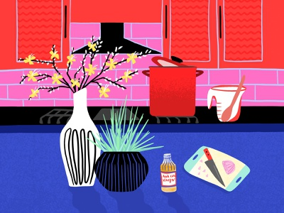 Colorful Kitchen Illustration graphic design illustration art digital art procreate illustrator art of the day drawing at home stay home home kitchen cooking illustration