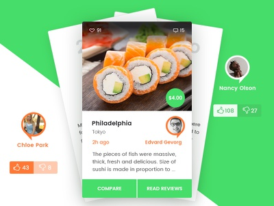 Who else wants delicious sushi?  tile web design website ux ui sushi review like food compare comment card