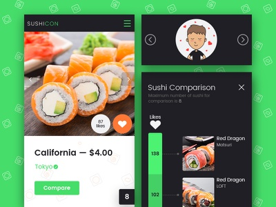 Brand-new way to pick sushi timeline website web design ux ui sushi mobile illustration like food color compare
