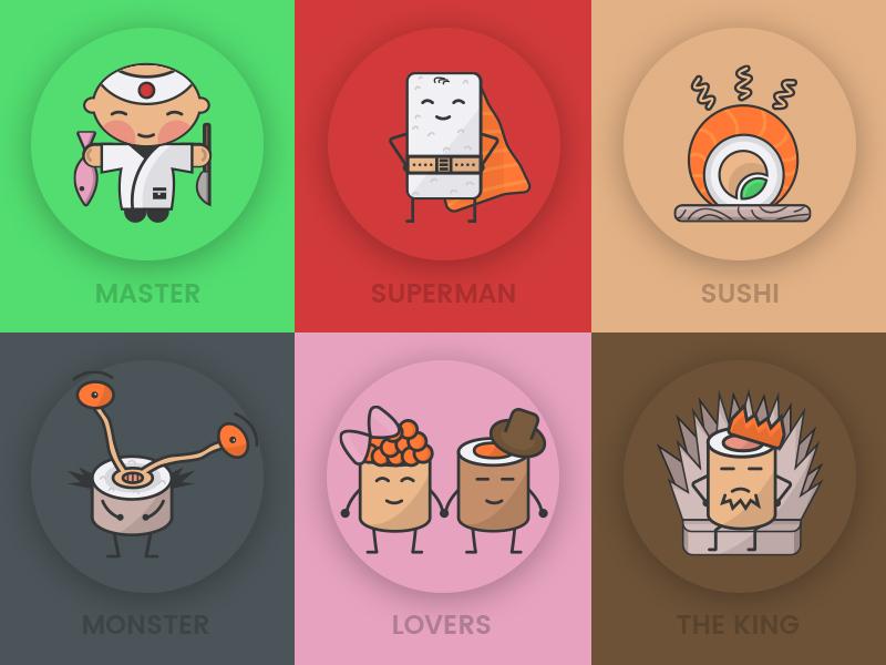 Free sushi icons vector color superman web psd freebie free food illustration sushi icons ui