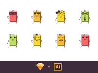 Free Sushi Hero Icons vector character sushi sketch illustration icons freebie free food