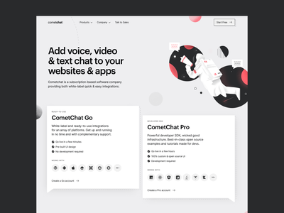 CometChat — Homepage space sdk tech design graphik cometchat chat illustration grid cards ui significa