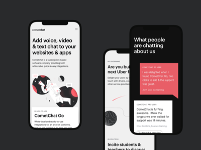 CometChat — Homepage Mobile mobile responsive space colours tech graphik cometchat chat illustration grid ui cards significa