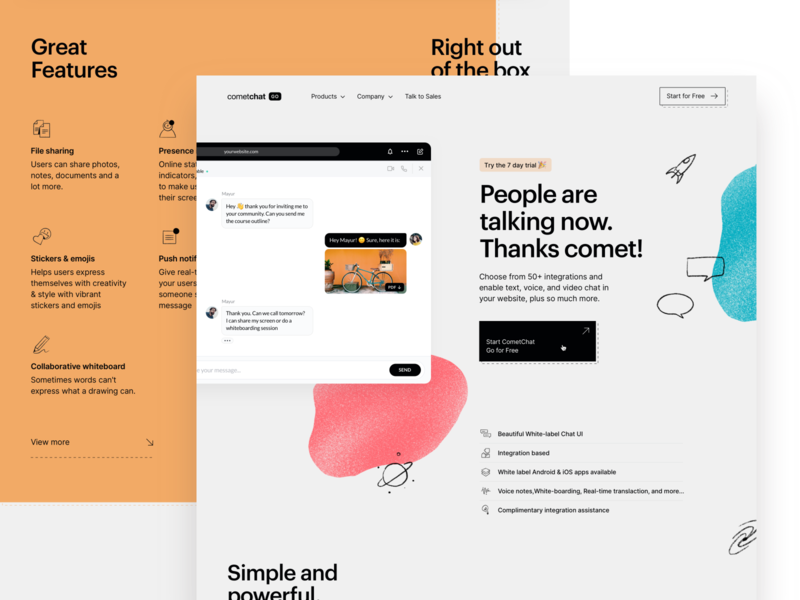 Ready... Set... Go! 🚀 comet marketing website go integrations texture gritty orange colours space tech graphik cometchat chat illustration grid cards ui significa