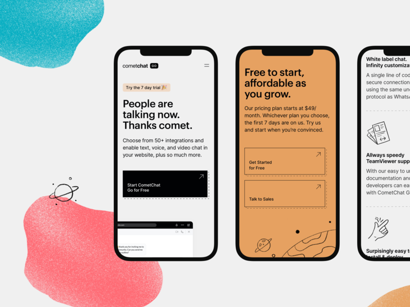 CometChat Go — Responsive 🚀 texture gritty clean orange line responsive mobile design colours space tech graphik cometchat chat illustration ui significa