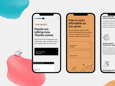 CometChat Go — Responsive 🚀 texture gritty clean orange line responsive mobile design colours space tech graphik cometchat chat illustration ui significa