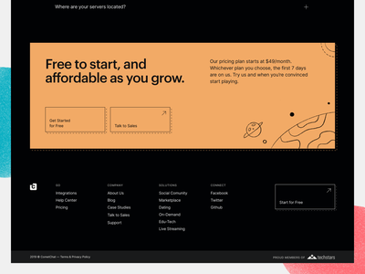 CometChat Go — Pricing Footer texture line footer branding colours space tech graphik cometchat chat illustration ui significa