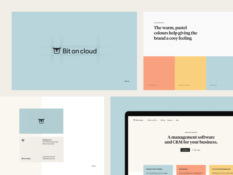 Bit On Cloud — Brand Proposal bit typography design tiempos presentation business crm logo animal minimal warm pastel branding brand ui significa