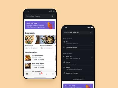 Oopsie 🍜 Reorganising Home drawer schedule settings takeaway takeout pick-up menu home fun illustration design app mobile orange food restaurants oopsie ui significa