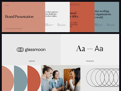 Glassmoon — Brand Presentation presentation minimal consultancy marketing inter tech graphic pastels warm soft canela moon glassmoon illustration typography logo branding brand ui significa