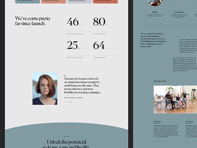 Glassmoon — Homepage Testimonial interior glassmoon team testimonial numbers elegant pastel minimal canela branding cards tech ui significa