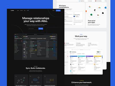 Attio — Homepage abstract shapes slider collaboration powerful minimal color interior graphik modern modules dark attio