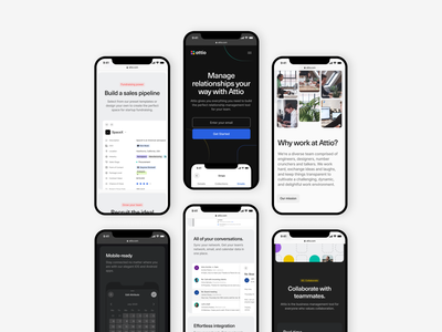 Attio — Mobile mockup grid responsive features about attio modules interior tech minimal simple blue colors colours mobile