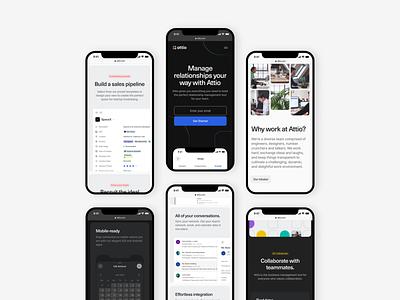 Attio — Mobile mockup grid responsive features about attio modules interior tech minimal simple blue colors colours mobile