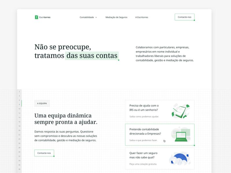 📒Escritorres Landing Page significa green excel accounting illustrations grid serif landing hero desktop