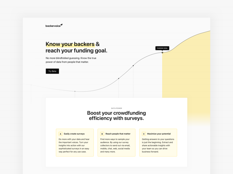 Backervoice 📣Hero minimal geometric sans-serif grid crowdfunding kickstarter stats components yellow ui significa