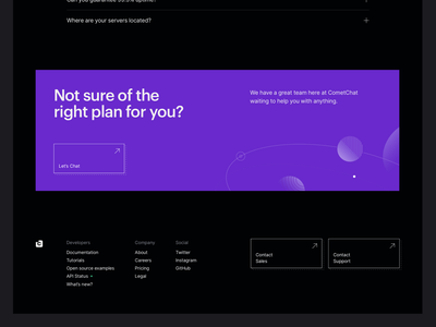 CometChat Pro — Footer dark mode graphik chat space illustrations color colour tech cometchat purple footer ui significa