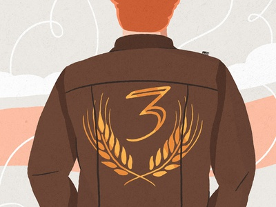 3 YEARS illustration leather redhead character design